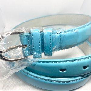 Light Blue Genuine Leather Belt